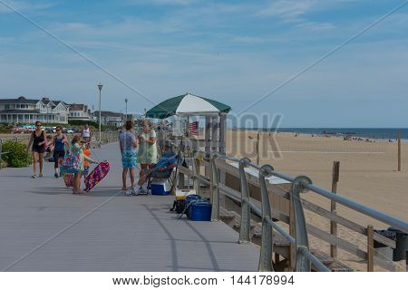 Spring Lake NJ USA -- August 25 2016 -- Station for sales of badges for access to the beach. Editorial Use Only
