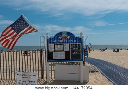 Manasquan NJ USA-- Augist 24 2016 -- Entrance to Main Street Beach in Manasquan NJ. Editorial Use Only