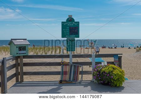 Sea Girt NJ USA --August 24 2016 -- Beach entrance and beyond at Chicago Bllvd Sea Girt NJ. Editorial Use Only.