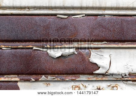Background of old metal sheet with peel paint texture surface