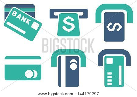 Bank ATM vector icons. Pictogram style is bicolor cobalt and cyan flat icons with rounded angles on a white background.