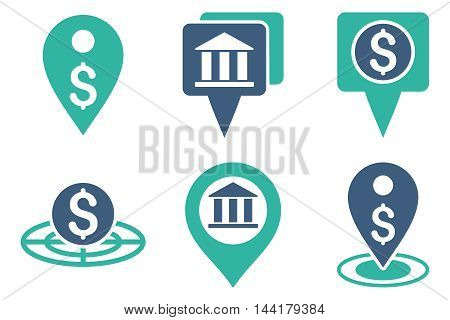 Bank Location vector icons. Pictogram style is bicolor cobalt and cyan flat icons with rounded angles on a white background.
