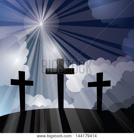 Vector illustration of three silhouetted crosses on a hill with dark clouds and light rays shinning down, symbolizing God, the Holy Spirit, the crucifixion and Christ's ascension at Easter.
