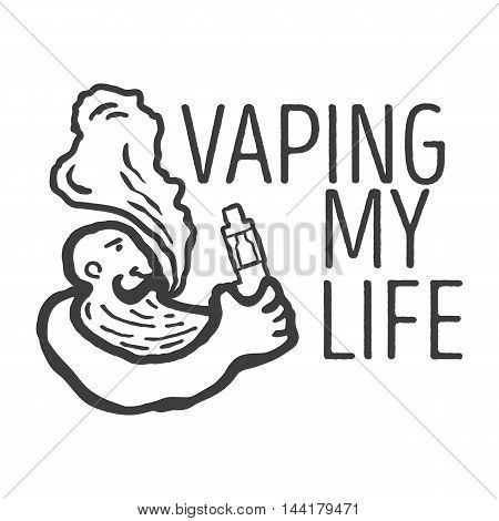 Monochrome logo or poster of the person with an electronic cigarette in hands