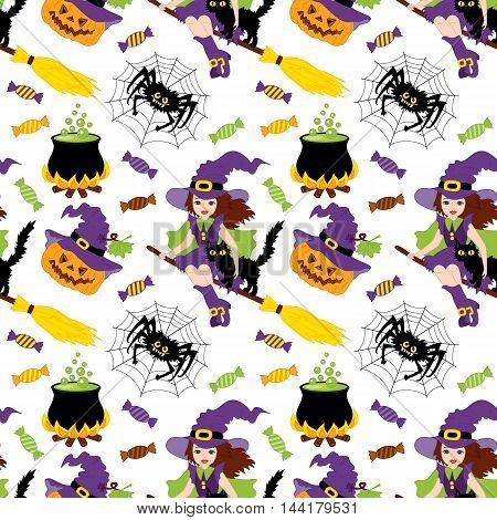 Vector Halloween seamless pattern with witch, pumpkin, sweets, cat and the moon