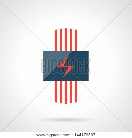Conceptual sign of electric heating system with red cords and power symbol. Contemporary technology for house climate. Heated floor theme. Modern style flat colored vector icon.