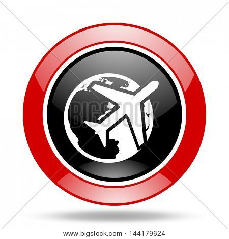 travel round glossy red and black web icon