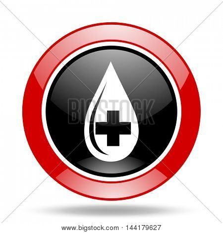 blood round glossy red and black web icon