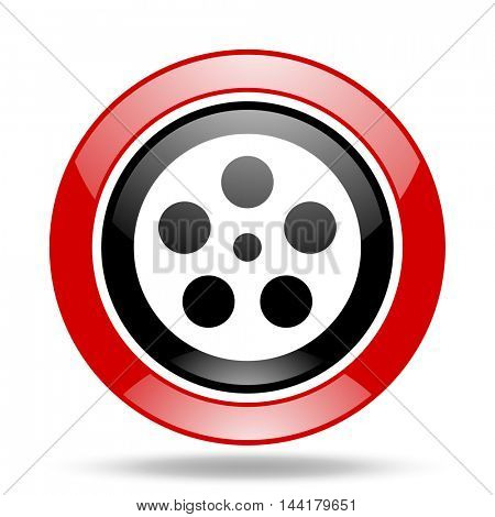 film round glossy red and black web icon