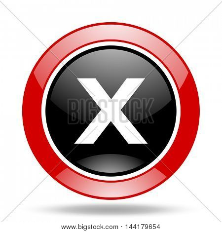 cancel round glossy red and black web icon