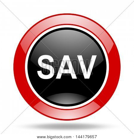 sav round glossy red and black web icon