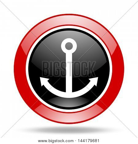anchor round glossy red and black web icon