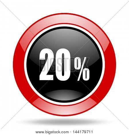 20 percent round glossy red and black web icon