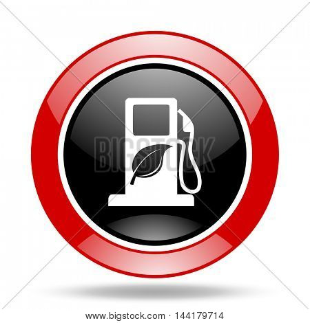 biofuel round glossy red and black web icon