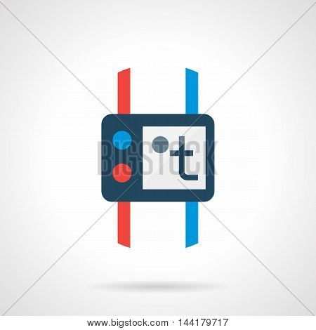 Thermoregulator of electric or water heaied floor. Device with temperature sign on display, blue and red buttons and pipes. Underfloor heating concept. Modern style flat colored vector icon.