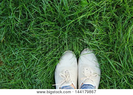 legs in shoes on the green grass