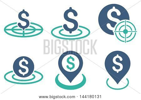 Business Target vector icons. Pictogram style is bicolor cobalt and cyan flat icons with rounded angles on a white background.
