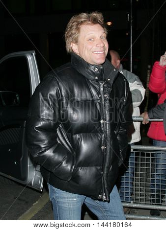LONDON, UK, FEB 8, 2013: Bon Jovi seen at the BBC radio two studios picture taken from the street