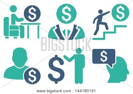 Businessman vector icons. Pictogram style is bicolor cobalt and cyan flat icons with rounded angles on a white background.