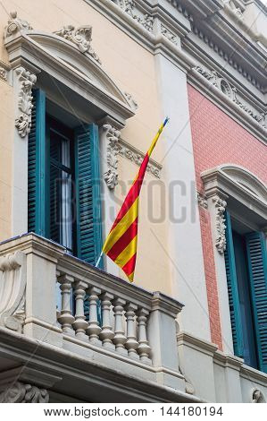 Flags Of Catalonia Outside A Building In Barcelona.