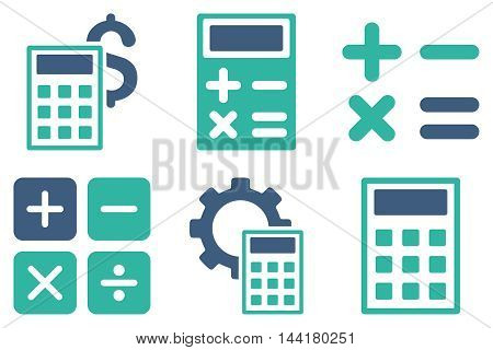 Calculator vector icons. Pictogram style is bicolor cobalt and cyan flat icons with rounded angles on a white background.