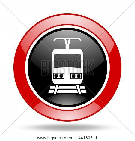 train round glossy red and black web icon