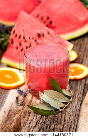Healthy refreshing drink - delicious juice of watermelon freshly squeezed