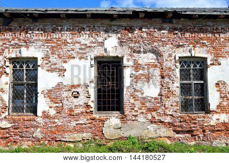 Old building in Kirillo-Belozersky monastery by day near City Kirillov Vologda region Russia.