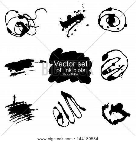 Black Ink blots vector set on white background.