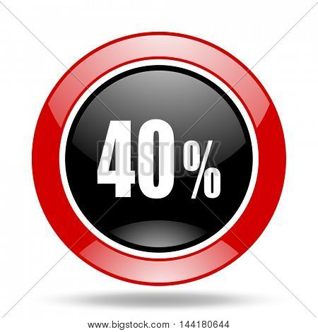40 percent round glossy red and black web icon