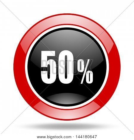 50 percent round glossy red and black web icon