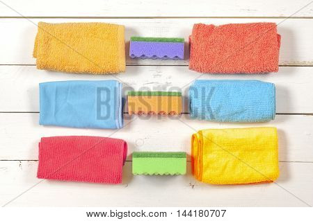 Cleaning. A set of wipes sponges buckets for cleaning. Top view