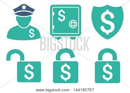 Financial Guard vector icons. Pictogram style is bicolor cobalt and cyan flat icons with rounded angles on a white background.