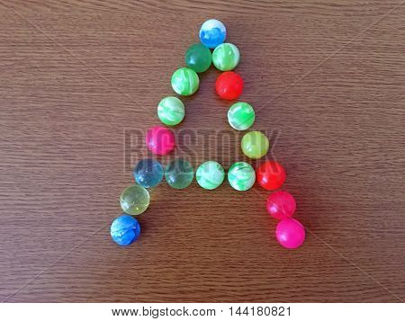 The English letter 'A', of the rubberballs