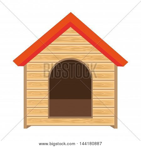 dog house of wood home pet animal canine vector illustration