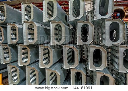 Spare parts at workshop in a plant that manufactures agricultural equipment