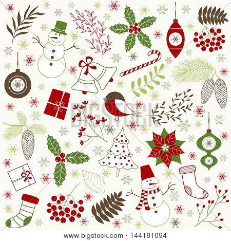 Vector doodle red and green Christmas set
