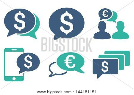 Money Message vector icons. Pictogram style is bicolor cobalt and cyan flat icons with rounded angles on a white background.