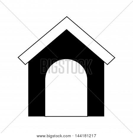 dog house silhouette home pet animal canine vector illustration