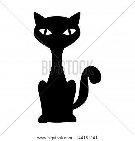 cat feline pet domestic animal sit mascot silhouette vector illustration
