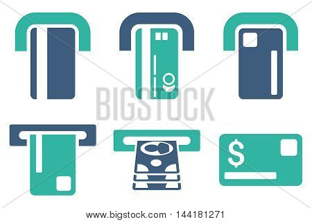 Payment Terminal vector icons. Pictogram style is bicolor cobalt and cyan flat icons with rounded angles on a white background.