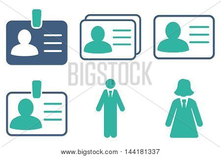 Person Account Card vector icons. Pictogram style is bicolor cobalt and cyan flat icons with rounded angles on a white background.