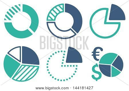 Pie Chart vector icons. Pictogram style is bicolor cobalt and cyan flat icons with rounded angles on a white background.