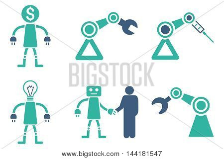 Robot vector icons. Pictogram style is bicolor cobalt and cyan flat icons with rounded angles on a white background.