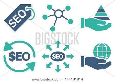 Seo Marketing vector icons. Pictogram style is bicolor cobalt and cyan flat icons with rounded angles on a white background.