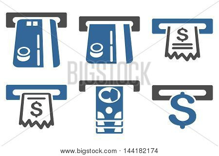 ATM Slot vector icons. Pictogram style is bicolor cobalt and gray flat icons with rounded angles on a white background.