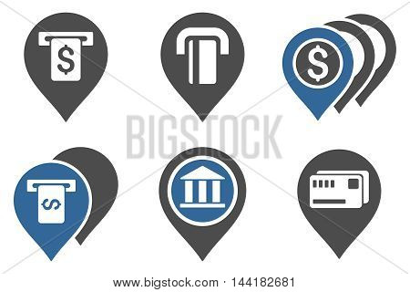 Banking ATM Pointers vector icons. Pictogram style is bicolor cobalt and gray flat icons with rounded angles on a white background.