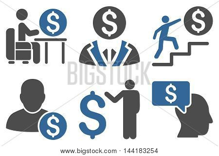 Businessman vector icons. Pictogram style is bicolor cobalt and gray flat icons with rounded angles on a white background.