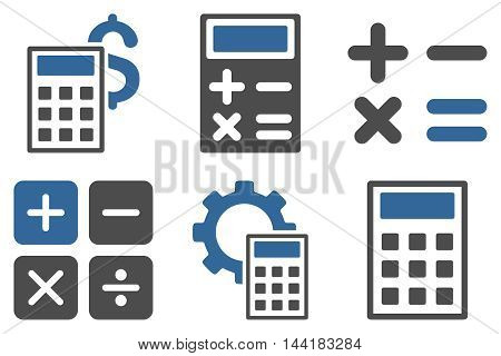 Calculator vector icons. Pictogram style is bicolor cobalt and gray flat icons with rounded angles on a white background.