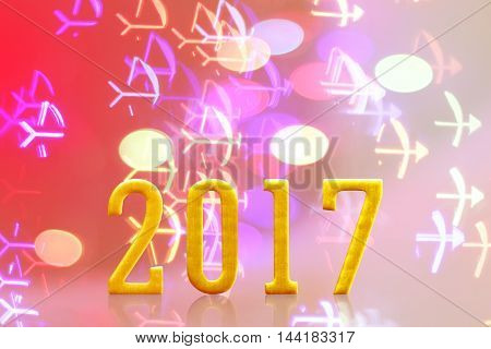2017 year. on blurred bokeh light. new year